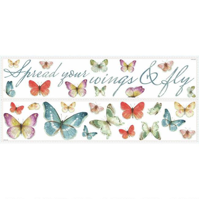 Multicolor Butterflies Peel And Stick Wall Decals 28 Piece