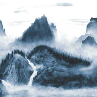 Navy Blue And White Mountains Wallpaper Mural
