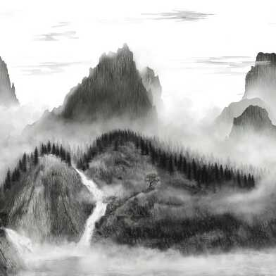 Black And White Mountains Wallpaper Mural