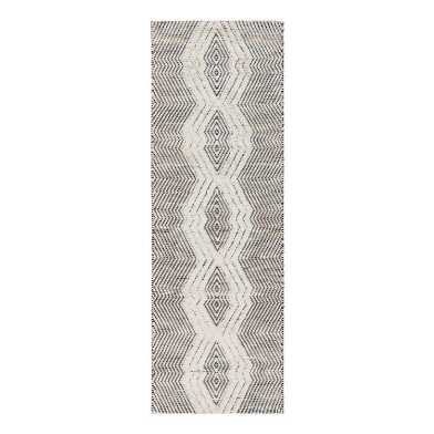 Black And Ivory Shag Diamond Floor Runner