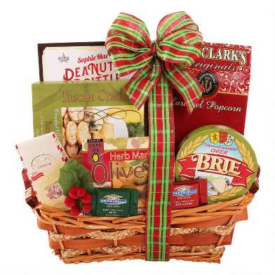 Happy Holidays Wicker Gift Basket