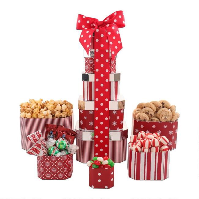 Candy Cane Lane 5 Piece Holiday Gift Tower