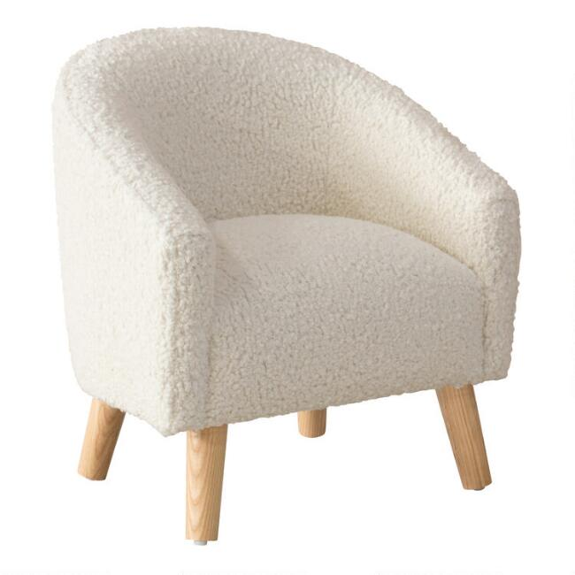 Natural Faux Sheepskin Colbie Upholstered Kids Chair