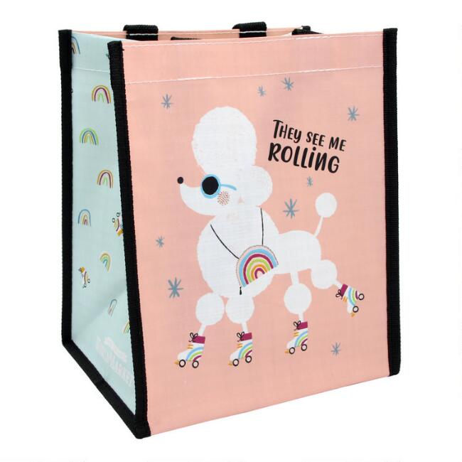 Small Pink Roller Skating Poodle Tote Bags Set Of 2