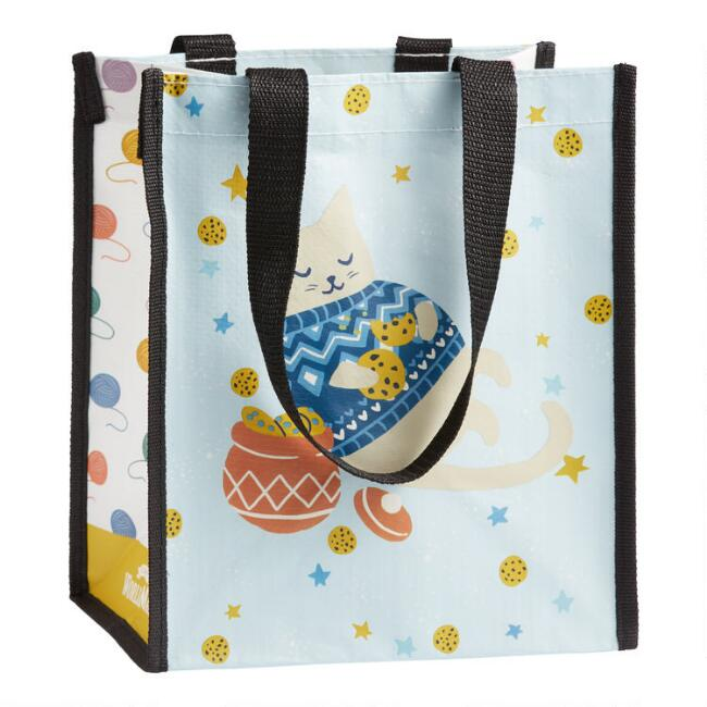 Small Holiday Sweater Cat Tote Bags Set Of 2
