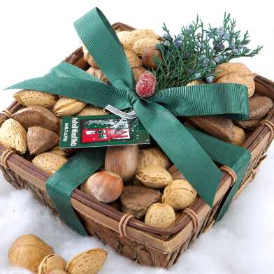 Whole In Shell Mixed Nuts Wood Bark Gift Tray