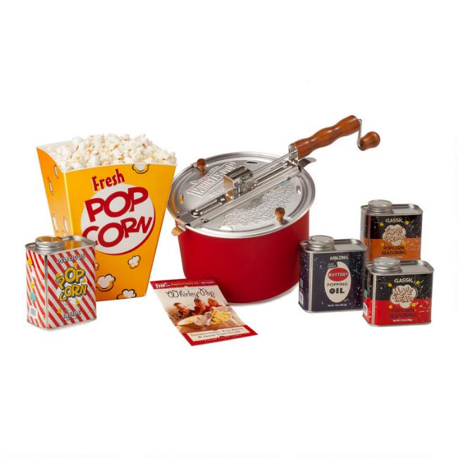 Wabash Valley Farms Whirley Pop Retro Popcorn Gift Set