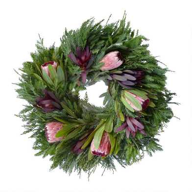 Fresh Redwood Cedar, Safari Sunset and Pink Protea Wreath