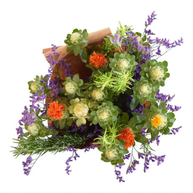 Fresh Safflower, Misty Blue and Rosemary Bouquet