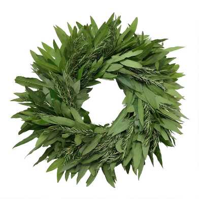 Fresh Bay Leaf and Rosemary Wreath