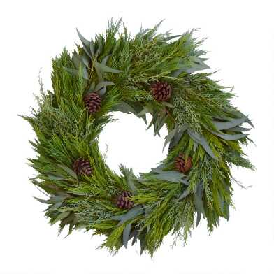 Fresh Willow Eucalyptus, Cedar and Pinecone Wreath