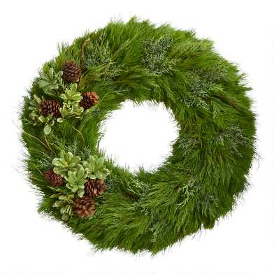 Fresh Cedar, Pittosporum and Pinecone Wreath