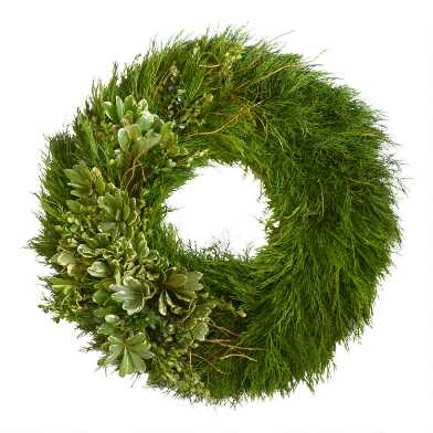 Fresh Cedar, Boxwood and Curly Willow Wreath