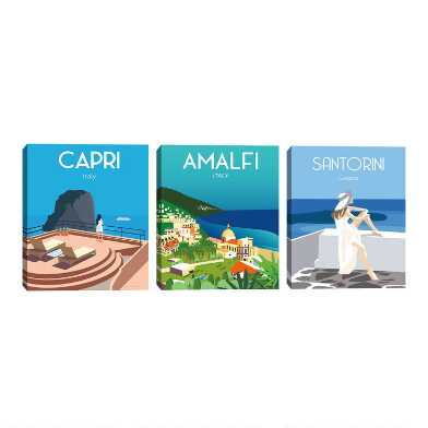 Coastal Europe by Omar Escalante Canvas Wall Art 3 Piece