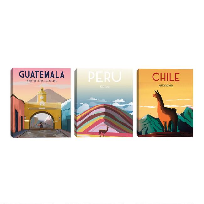 Latin America by Omar Escalante Canvas Wall Art 3 Piece