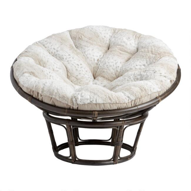 Ivory Leopard Plush Textured Papasan Chair Cushion