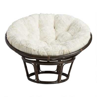 Sand Plush Textured Papasan Chair Cushion