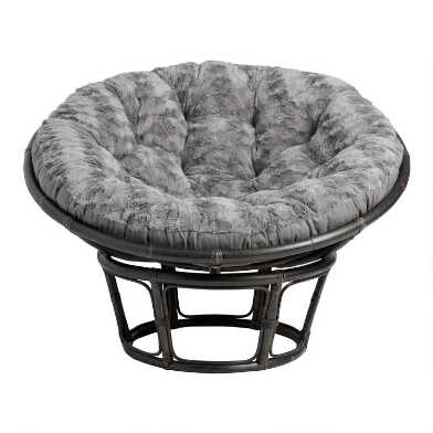 Gray Plush Textured Papasan Chair Cushion