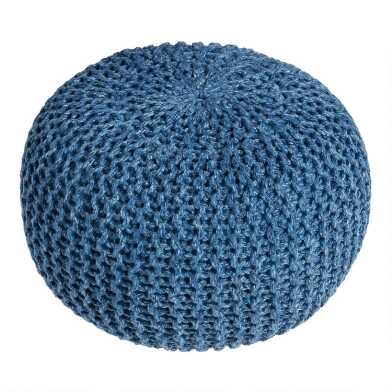 Turkish Blue Knit Indoor Outdoor Pouf