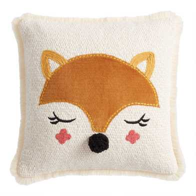 Ivory And Tan Fox Velvet Throw Pillow