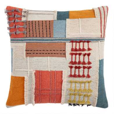 Ivory Multicolor Collage Throw Pillow