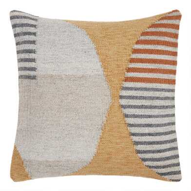 Yellow, Gray And Rust Abstract Geometric Throw Pillow