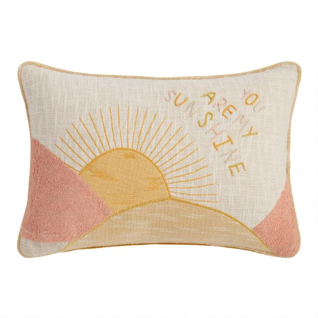 Ivory Hello Sunshine Embroidered Throw Pillow