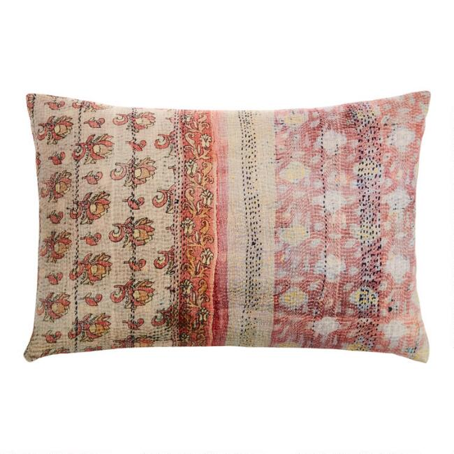 Oversized Ivory And Blush Kantha Print Lumbar Pillow