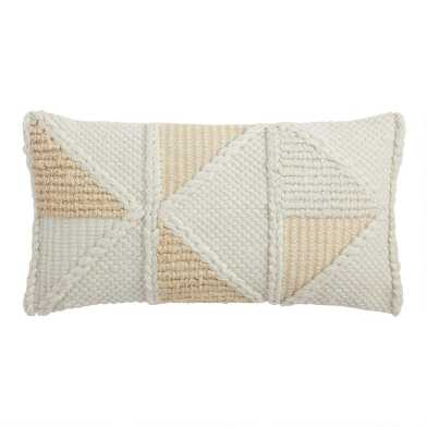 Ivory Geo Textured Indoor Outdoor Lumbar Pillow