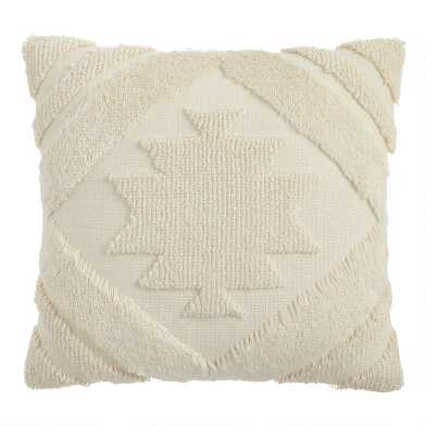 Ivory Geometric Medallion Indoor Outdoor Throw Pillow