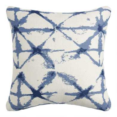 White And Indigo Blue Shibori Jacquard Throw Pillow