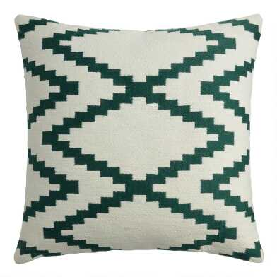 Teal And Ivory Interlocked Indoor Outdoor Throw Pillow