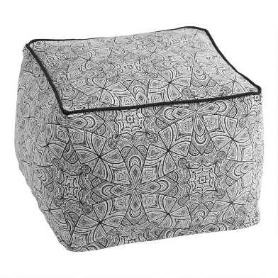 Black And Ivory Etched Batik Indoor Outdoor Pouf