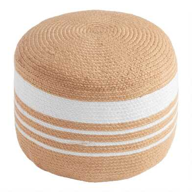 Natural And White Faux Jute Indoor Outdoor Pouf