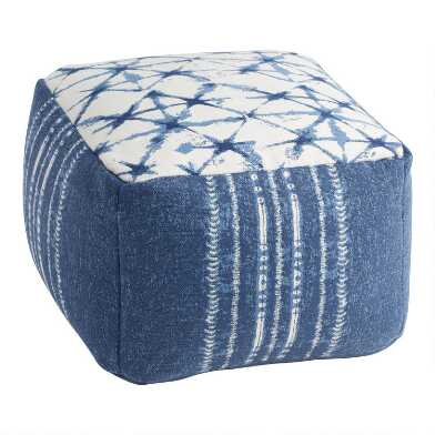 Indigo Blue Shibori Indoor Outdoor Pouf
