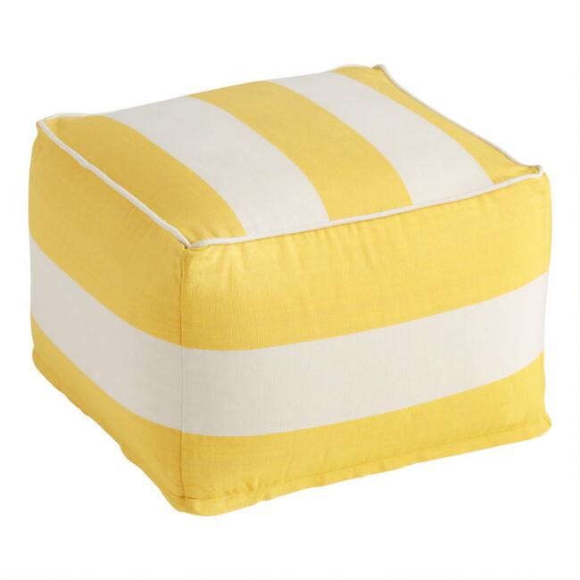 White And Yellow Awning Stripe Indoor Outdoor Pouf