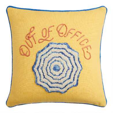 Yellow Out of Office Indoor Outdoor Throw Pillow