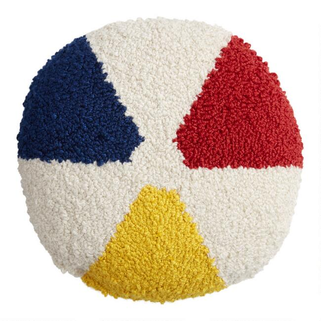 Yellow, Red And Blue Beach Ball Outdoor Throw Pillow