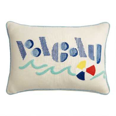 Ivory Vacay Embroidered Indoor Outdoor Lumbar Pillow