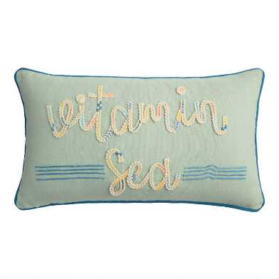 Light Blue Vitamin Sea Indoor Outdoor Lumbar Pillow