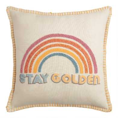 Stay Golden Rainbow Indoor Outdoor Throw Pillow