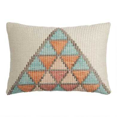 Ivory, Orange And Blue Pyramid Indoor Outdoor Lumbar Pillow