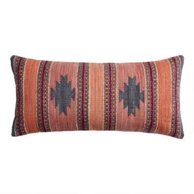 Oversized Woven Canyon Indoor Outdoor Lumbar Pillow