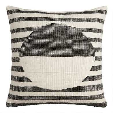 Black And Ivory Stripe Sol Indoor Outdoor Throw Pillow