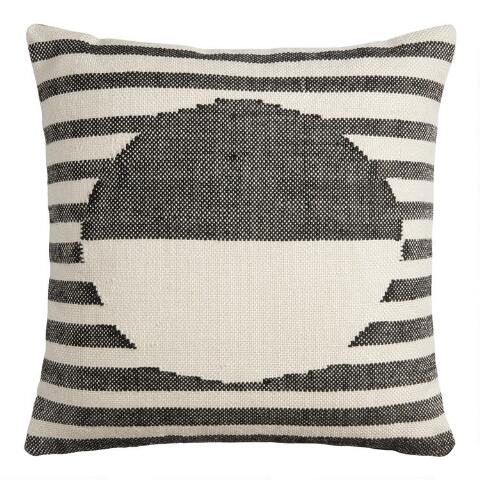 Black And Ivory Stripe Sol Indoor Outdoor Throw Pillow World Market