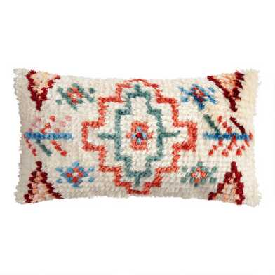 Multicolor Moroccan Shag Indoor Outdoor Lumbar Pillow