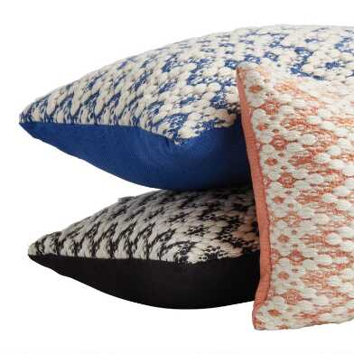 Embroidered Zigzag Indoor Outdoor Lumbar Pillow