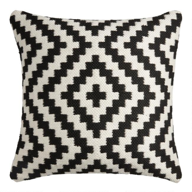 Black And Ivory Geo Zigzag Indoor Outdoor Throw Pillow