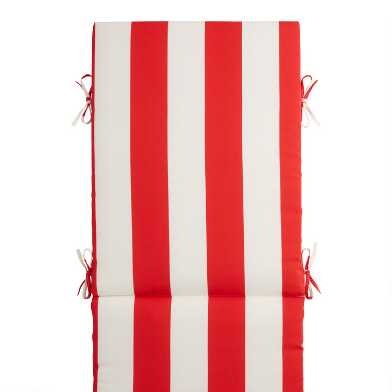 Red and White Awning Stripe Outdoor Chaise Lounge Cushion
