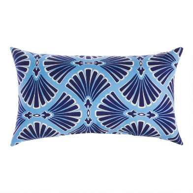 Blue Riviera Promenade Outdoor Lumbar Pillow